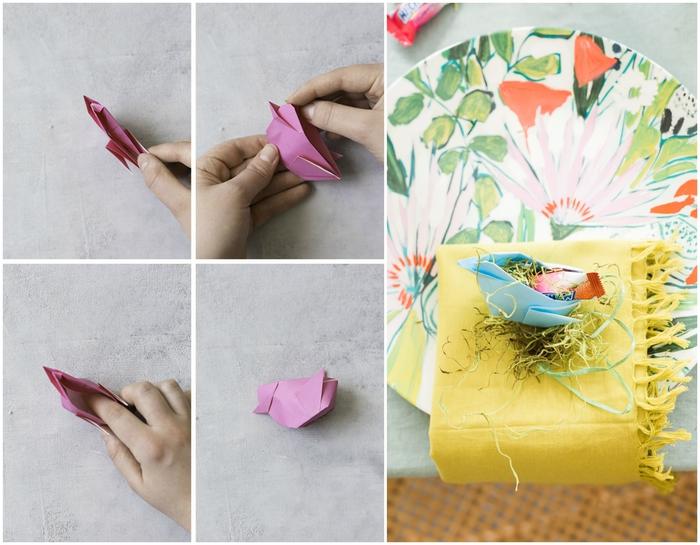 un joli modèle d'origami oiseau facile que vous pouvez utiliser pour la déco de pâques, idée de bricolage de printemps en origami