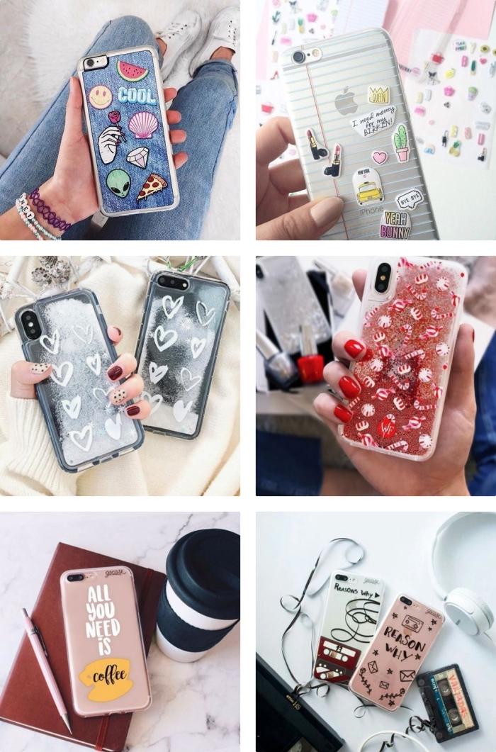exemples de portables personnalisés avec coques transparentes décorées en stickers autocollants ou vernis à ongles, personnaliser sa coque