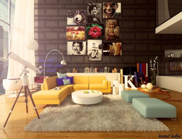 salon décoré tendance, deco design salle à manger, tableaux photos pour decoration murale