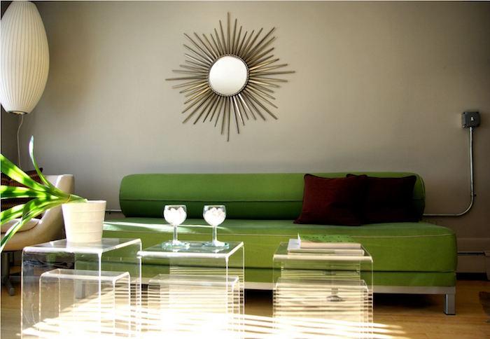 idée sculpture murale métal en forme de miroir, miroir soleil pour déco murale