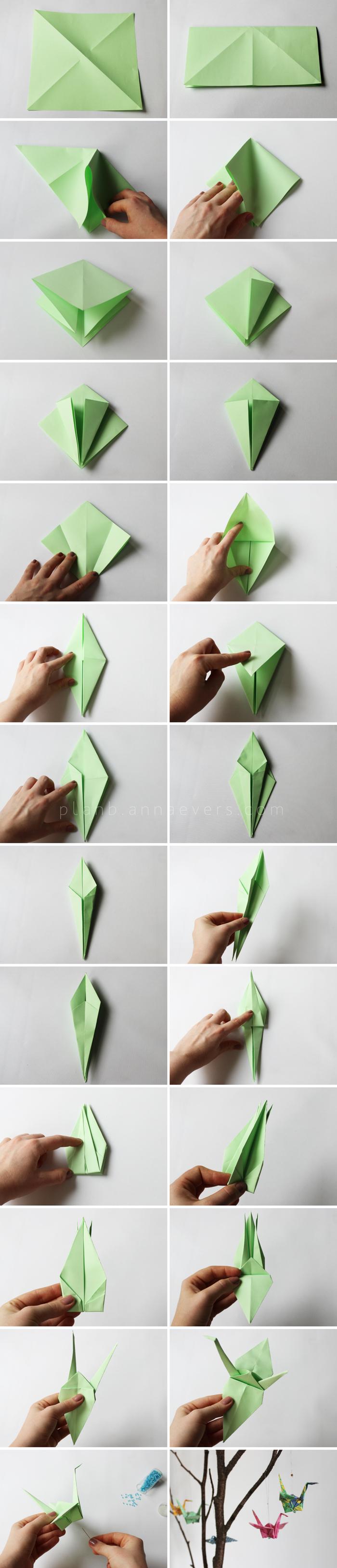 instructions de pliage origami d une grue en papier pour réaliser une jolie suspension origami