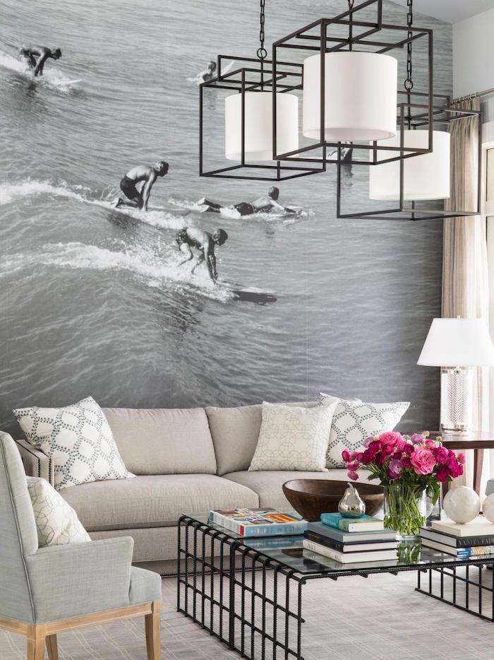 modele papier peint tendance pour salon, photo geante pour decoration intérieur