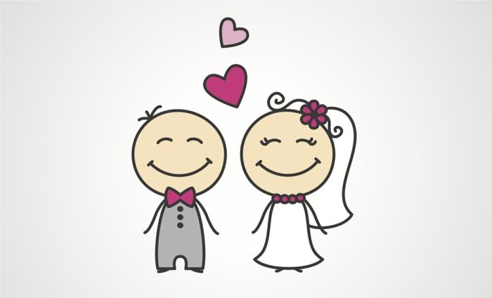 Faire part original mariage couple amoureux dessin beau