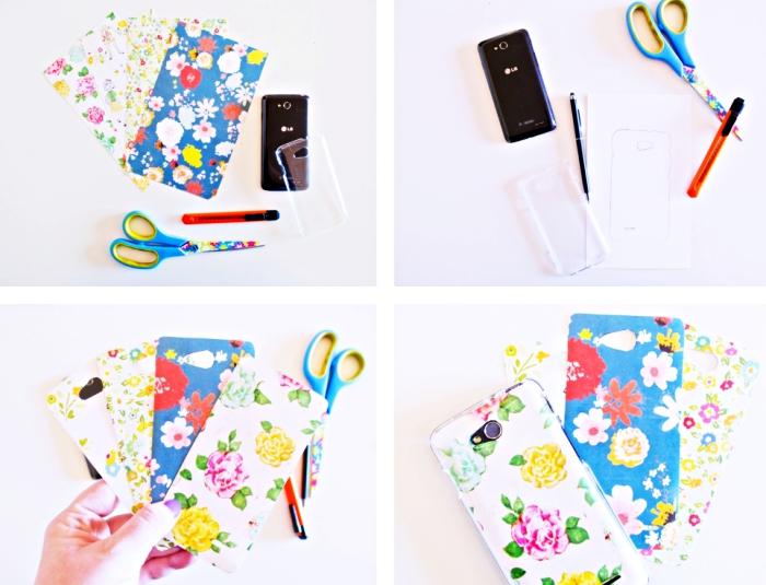tutoriel facile pour faire une coque telephone chic à design floral avec photos imprimées et une coque transparente