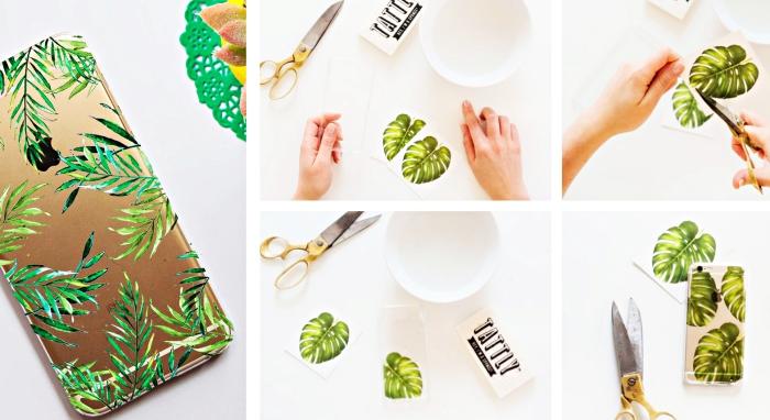 tutoriel pour faire des coques personnalisées à l'aide des stickers autocollants à design feuilles vertes, modèle de coque à design tropical