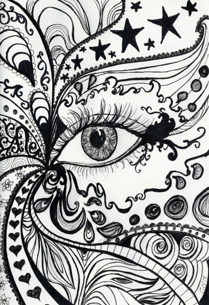 Les dessins géométriques idée comment dessiner lignes oeil