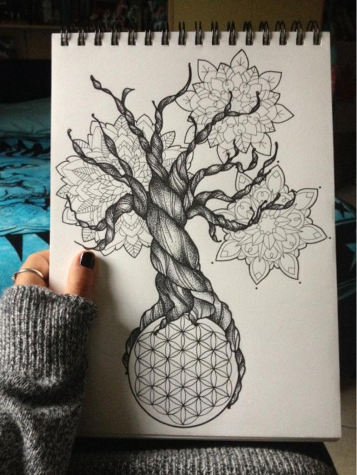 Magnifique dessin forme géométrique beau dessin pas a pas arbre de vie