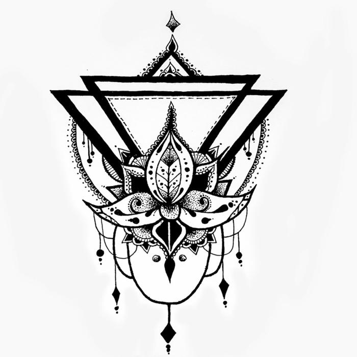 Noir et blanc dessin animaux geometrique idee dessin lilie