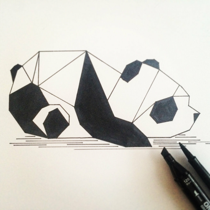 Image géométrique de dessin simple à recréer cool idée panda
