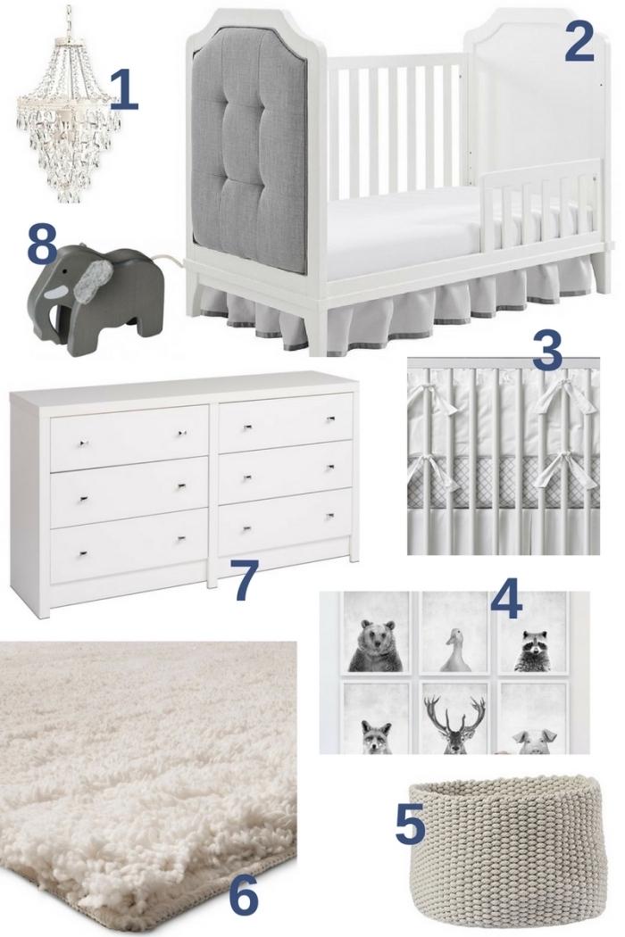 idée pour les accessoires dans la deco chambre fille ou garçon bébé, comment combiner les meubles et les objets de nuances neutres