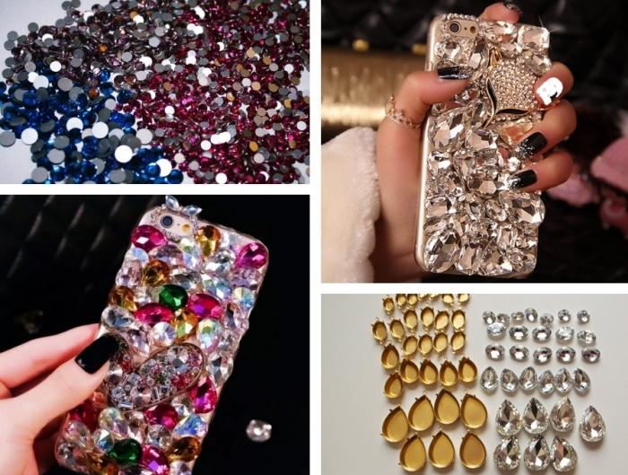 comment personnaliser coque iphone 6 avec strass et cristaux minuscules en différentes couleurs pour faire un portable glamour