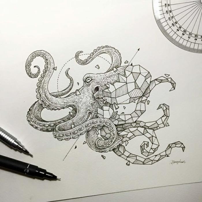 Fleur geometrique dessin geometrique a faire avec une ligne octopus