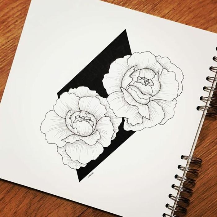 Photo de dessin géométrique avec explication dessiner pivoines