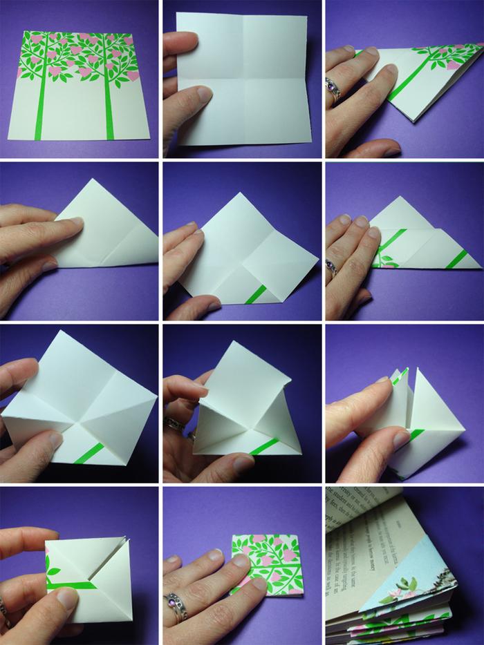 pliage papier facile pour réaliser un simple marque-page origami en papier imprimé au motif végétal, bricolage origami pour la rentrée