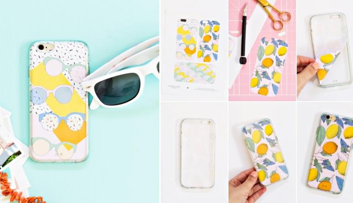 activité manuelle facile pour customiser son portable, coque telephone transparente décoré avec une photo imprimée à design digital lunettes de soleil colorées