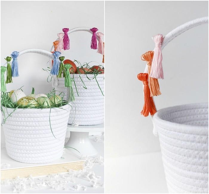 panier blanc tressé avec des pompons à franges pour décorer un panier de paques blanc avec des pompons à franges colorés