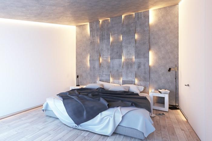 panneaux muraix 3d, sol en bois, lit matelas, plancher en bois, petit chevet blanc
