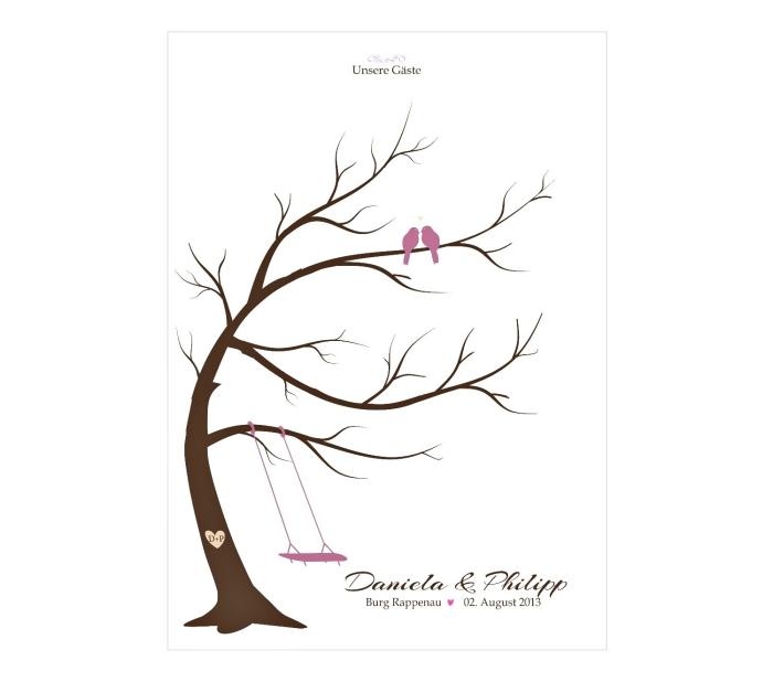 une idée dessin facile à réaliser sur le thème joyeux mariage, dessin d'arbre vierge aux branches et couple d'oiseaux amoureux
