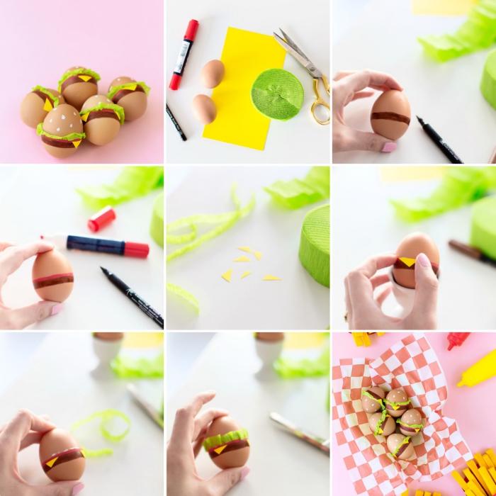 exemple d'oeuf a la coque décoré en forme de hamburger avec marqueurs et papier en couleurs, tutoriel facile pour une déco de style alimentaire