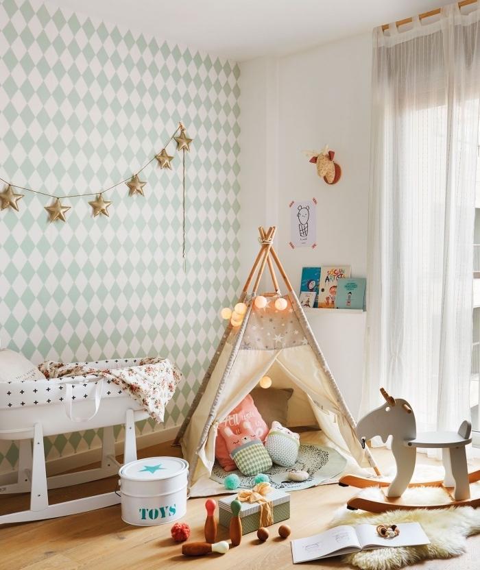 modèle de tipi diy facile avec guirlande lumineuse et plein de coussins par terre, décoration murale avec modèle de papier peint à motifs géométriques blanc et vert
