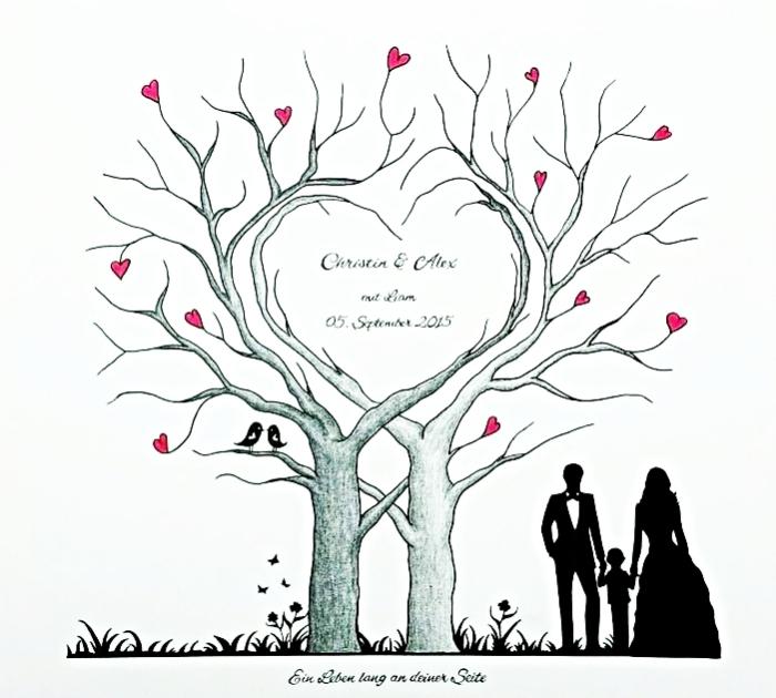 idée scrapbooking avec un poster pour couple amoureux à dessin en design arbre aux branches en forme de coeur