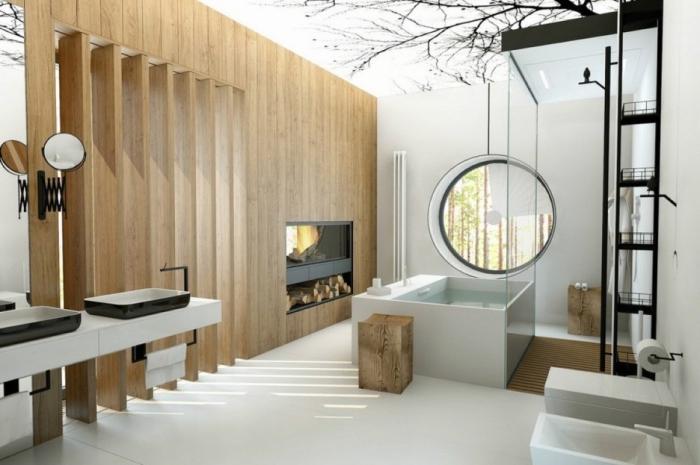 ambiance salle de bain zen avec décoration de plafond à dessin arbre, mur avec colonnes de bois et cheminée noire mate