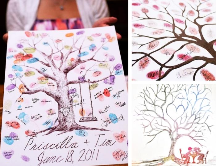 comment utiliser un tampon encreur mariage pour décorer une toile à design arbre d'amour avec balançoire et couple amoureux