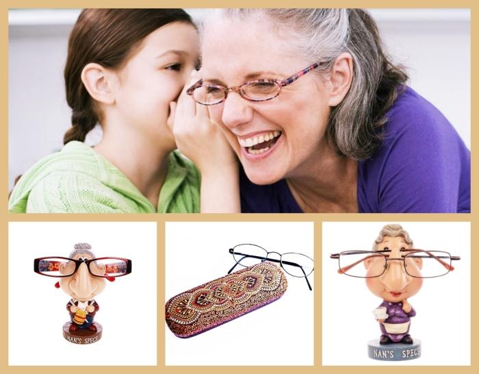 accessoire de lunettes de vue, figurine à design mamie aux cheveux gris à utiliser comme support de lunettes de vue