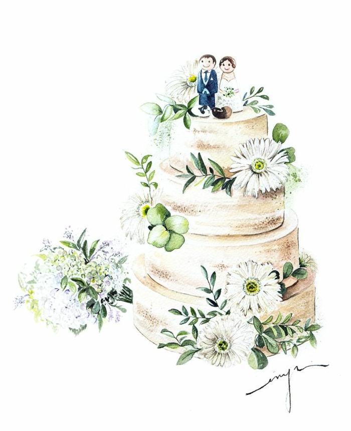 Superbe image carte de mariage photo de dessin illustration gâteau