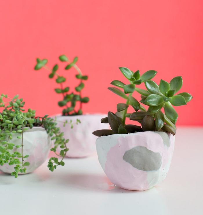 petits pots de fleurs en pate fimo à couleurs diverses avec des plantes vertes à l intérieur, idée d activité manuelle