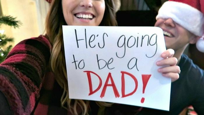 il sera un père, photo annonce grossesse, une note avec un texte inspirant