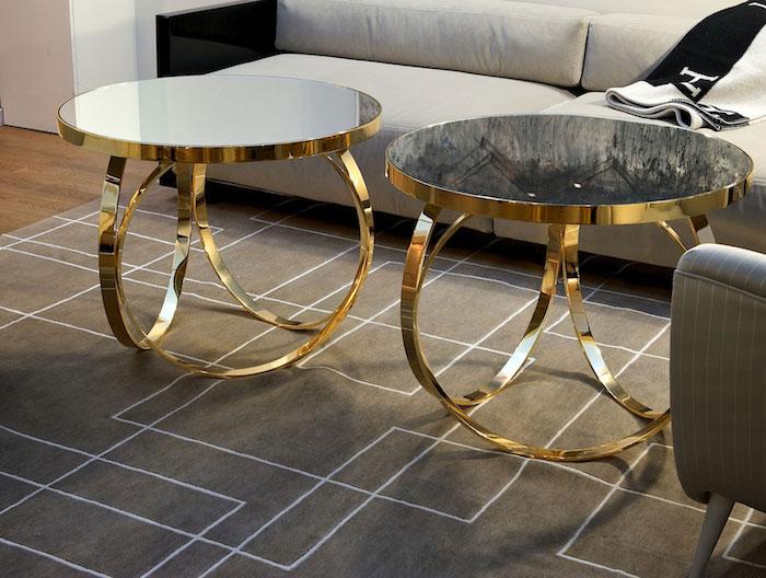 modele petite table basse dorée, meuble de salon en or design