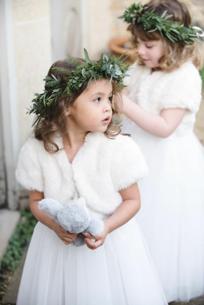 Blanche robe de demoiselle d'honneur robe petite fille d'honneur hiver