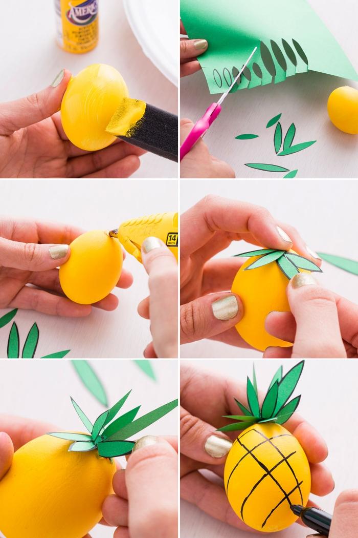 étapes à suivre pour décorer les oeuf paques en forme d'ananas avec dessin en marqueur noir et feuilles de papier vert