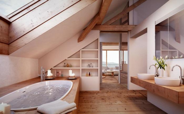salle de bain mansardée, baignoire encastrée, grande fenetre au plafond, comptoir en bois