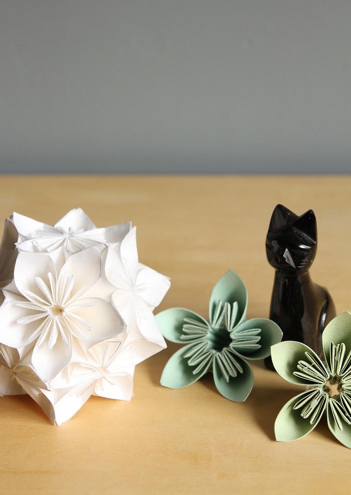 un modèle traditionnel d'une fleur en origami kusudama très esthétique, idéale pour la déco des tables et buffets