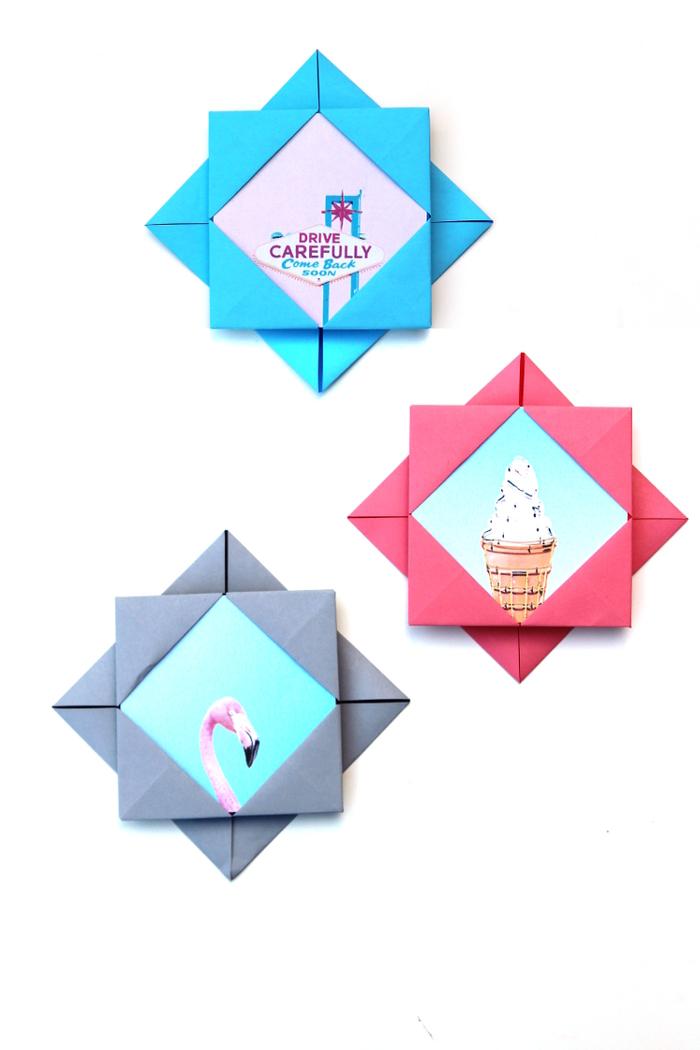 pliage origami pour créer un cadre-photo original que vous pouvez utiliser dans vos projets de scrapbooking