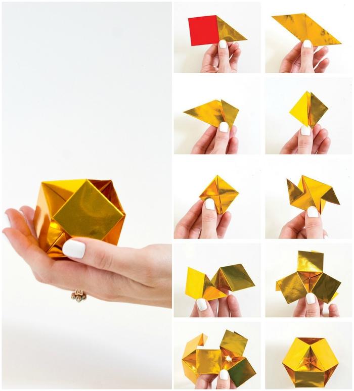 joli modele origami en forme de petite gemme en papier de couleur métallisée que vous pouvez utiliser dans la déco d'intérieur