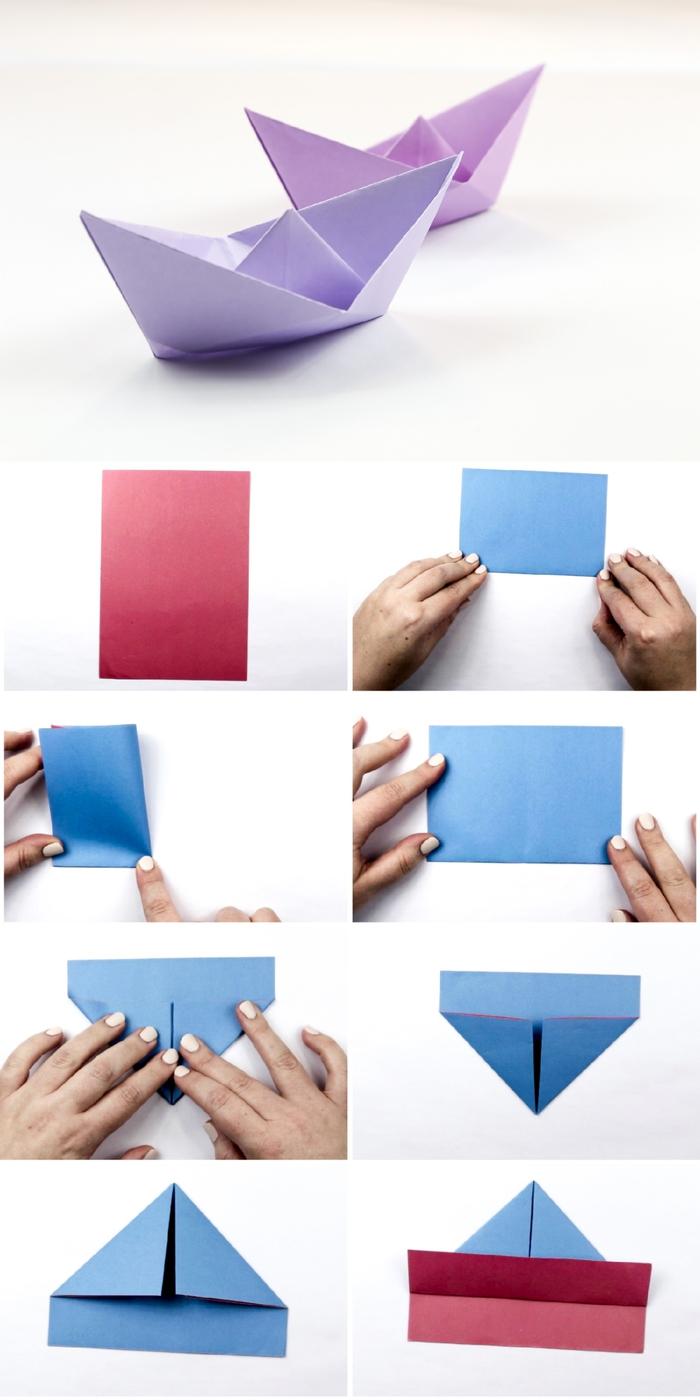 modèle de bateau facile à réaliser avec les étapes du pliage papier facile, pliage papier pour apprendre l'art origami, comment faire un bateau en papier