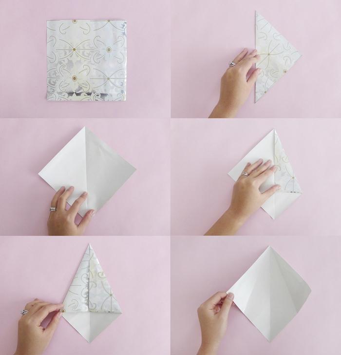 le pliage origami d une étoile en papier au motif imprimé, comment réaliser une jolie guirlande de noël façon origami