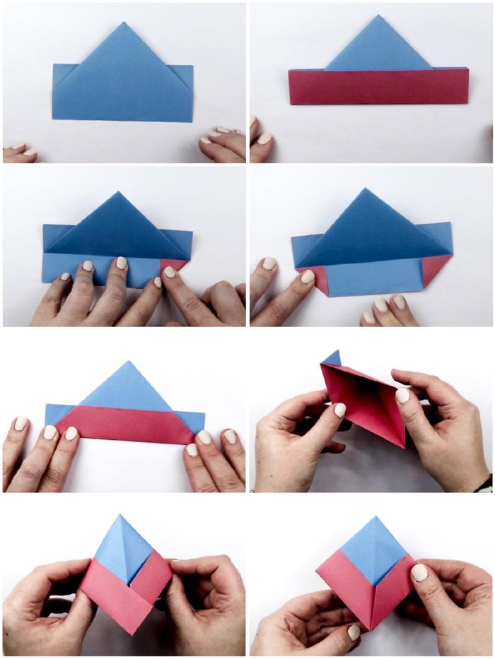 comment faire des origami pour apprendre aux enfants les techniques de pliage de base, modèle bateau basique idéal pour débutants