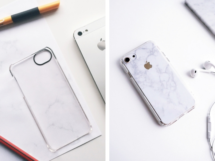 tutoriel facile pour décorer une coque transparente en utilisant un sticket autocollant à design marbre blanc et gris