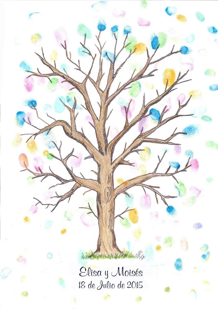 arbre à empreintes colorées de nuances variées avec un signe des prénoms de jeunes mariés et la date de leur mariage