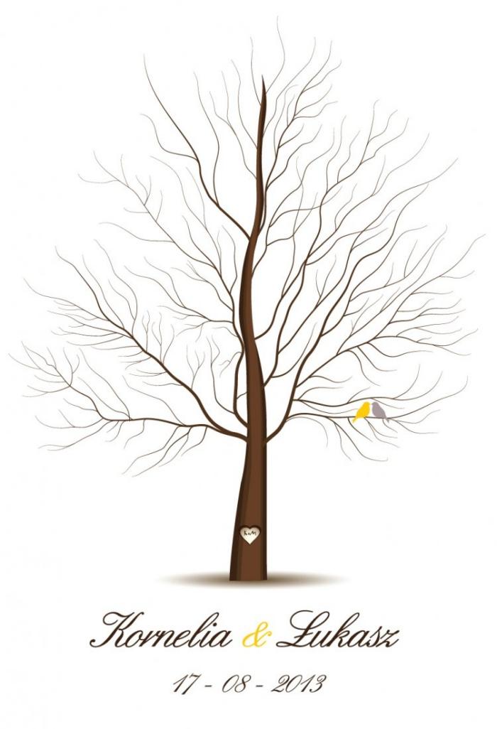dessin facile a faire avec un arbre sans feuillage et un signe aux prénoms des jeunes mariés et la date du mariage