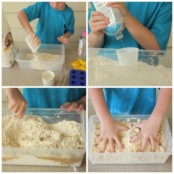 recette sable magique préparé avec trois ingrédients, idées d'activités de modelage avec pâte à modeler faite maison