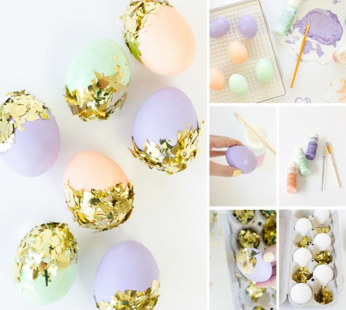 activité paques pour enfants, peinture acrylique de nuances pastel sur faux oeufs à coquille blanche avec déco en feuilles d'or