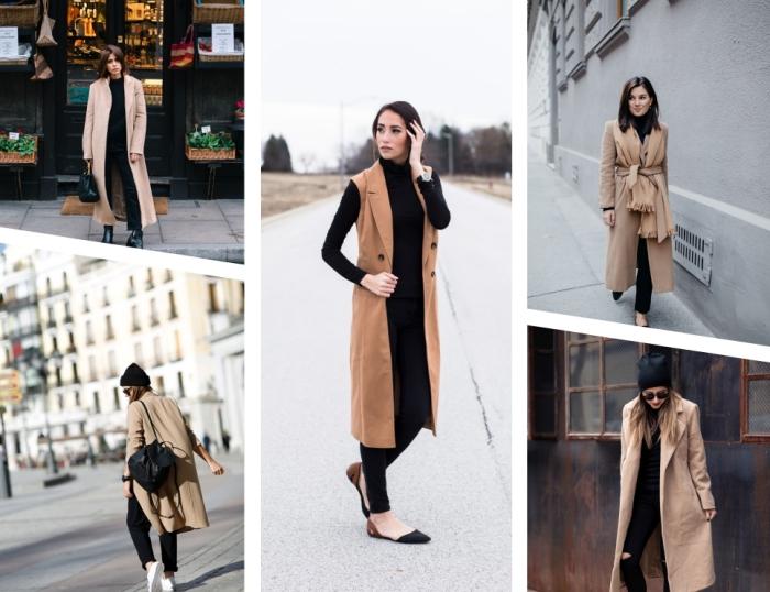 manteau hiver femme avec pantalon noir déchiré et pull over femme noir, modèle de gilet long camel avec pantalon et blouse noirs