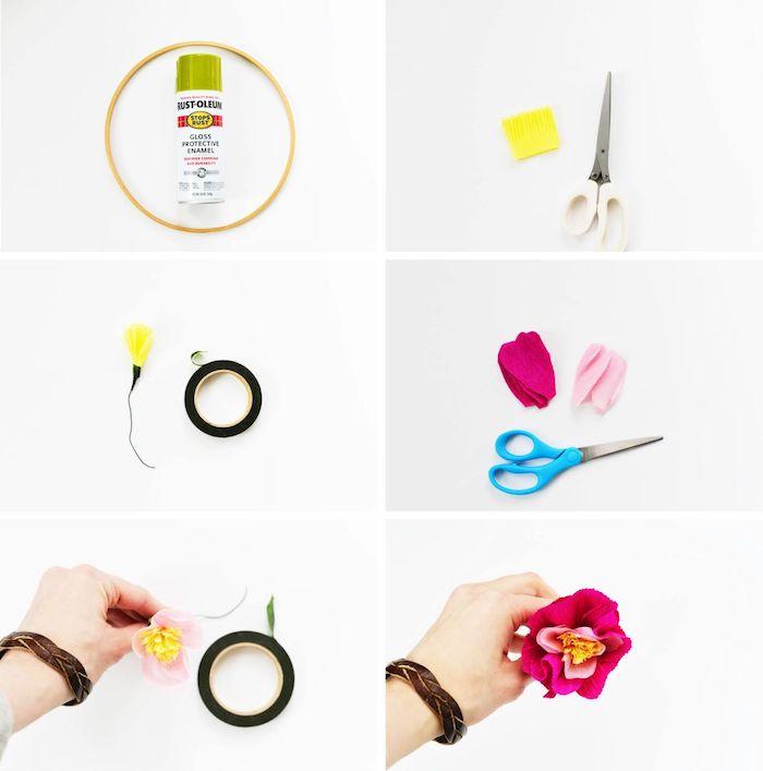 que faire avec du papier crépon, bricolage simple pour fabriquer une fleur en crepon pour votre couronne de printemps