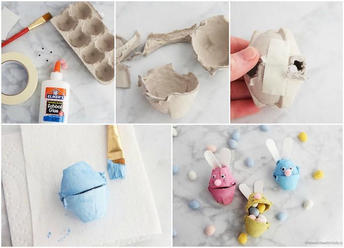 activité manuelle paques, dea alvéoles en carton d oeufs transformés en petites boites colorés pour bonbons, façon lapin de paques