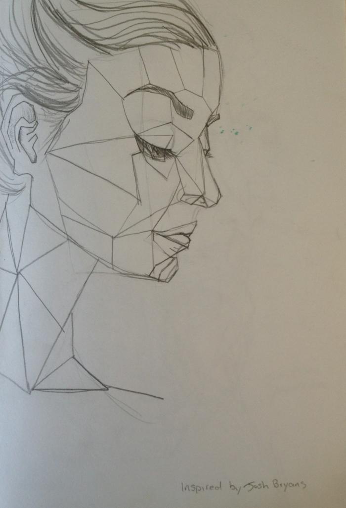 Tirer une ligne dessin avec des formes géométriques portrait